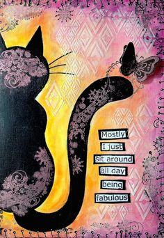 ART JOURNAL PAGE | CAT | Nika In Wonderland Art Journaling and Mixed Media Tutorials
