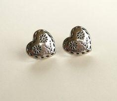 Western Silver (color) Heart Stud Earrings on Etsy, $5.00