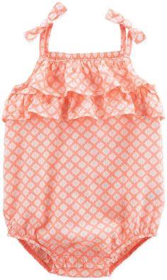 Carter's Ruffle Tie-Shoulder Sunsuit in Orange #babygirl, #carters, #promotion