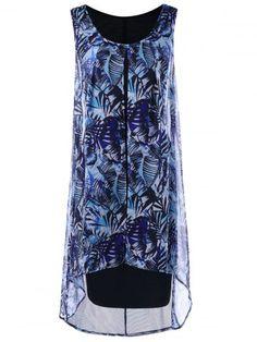 Chiffon Insert Layered Plus Size High Low Sleeveless Dress - BLUE 2XL