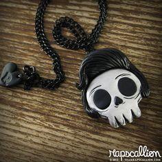 Rockabilly Elvis Skull Necklace by rapscalliondesign on Etsy, $20.54
