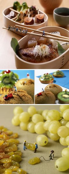 Against a tasty backdrop of pastries, fruit, and vegetables, photographers Pierre Javelle and Akiko Ida have created a series of humorous dioramas that depict miniature people going about their daily lives in an edible world.  See more at their website Minimiam ~ http://www.minimiam.com/en/goen.html    #photography