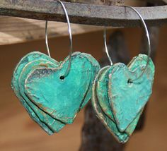 Papier Mache earrings 3 rustic hearts on a hoop by StudioCeladon