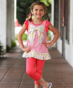 Look at this Coral Stripe Bow Tunic