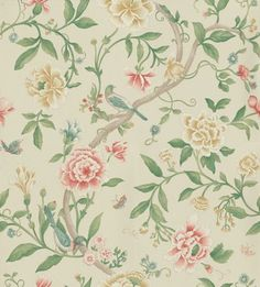 Porcelain Garden Red/Beige (DCAVPO104) - Sanderson Wallpapers - Inspired by early 19th C hand-painted Chinese wallpapers, with peony blossoms and birds as if painted in soft watercolours and pastels. Shown in the Red and Beige colourway. Wide width. Please request sample for true colour match.