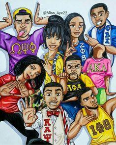 Greek Unity by artist Ashley Andrews Black Love Art, Black Girl Art, My Black Is Beautiful, Black Girl Magic, Black Girls, Delta Girl, Black Art Pictures, Black Cartoon, Cartoon Art