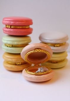 Macaron Ring Box $10.50 from Green Wedding Shoes. I love this.