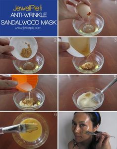 DIY Sandalwood Anti-Wrinkle Mask YOU WILL NEED: > Pure sandalwood oil x 3 drops (We replaced it with a teaspoon of sandalwood powder instead) > Honey x 2 tsp > Milk x 1 tsbp > Egg white x 1