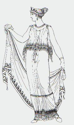 Doric Peplos - Take a column of fabric, double it over at the top, pin at shoulders and belt waist under the folded area. In this picture she is holding a Stola which would be used in colder weather to cover your self more. Ancient Greek Costumes, Ancient Greek Clothing, Ancient Greek Art, Ancient Rome, Greek History, Roman History, Ancient Greece Fashion, Greece Costume, Greek Dress