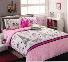 pink and black paris teen bedding | Details about 6 Piece Paris Glamour Double/Full Size Package 225 TC ...