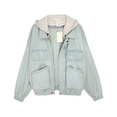 Faded Light Blue Denim Jackets with Hood ($101) ❤ liked on Polyvore featuring outerwear, jackets, tops, coats, button jacket, green jean jacket, green zip jacket, green jacket and long sleeve denim jacket