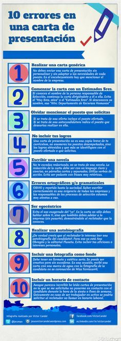#Infografía - 10 Errores en la #CartaDePresentación   #Empleo #Orientación #RRHH #Feina