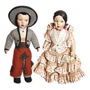 Pair of painted cloth Spanish dolls (munecas)