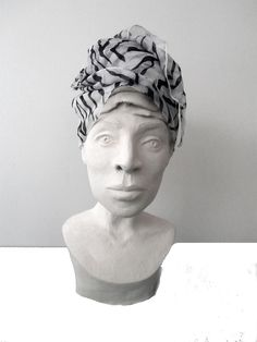 My portrait loves headwraps too - sculpture by SherLizz