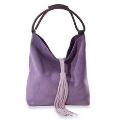 Alessandra's Shades of Purple Suede Tassel Bucket Bag Of Florence