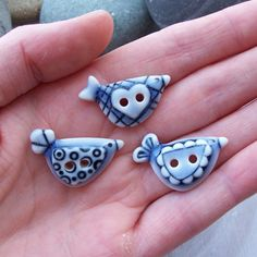 Bird Buttons Pale Blue Glazed Sweet Mini by RuthRobinsonCeramics