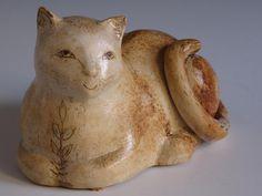 Ceramic Cat Sculpture by Margaret Wozniak