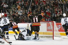 Alfie celebrates the winning goal during the playoff