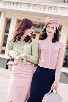 .Too cute!  Pencil skirts and ribbed knit sweaters in pastel colors... #feminine #fashion