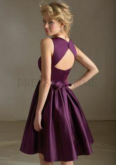 Buy Modern A-Line V-neck Natural Waist Beading Short/Mini Satin Bridesmaid dress WPBD-9710 Default Category under $97.99 only in DressesTime.