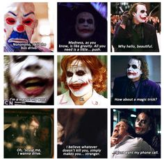 The top right pic is the background on my iPod. Not even joking....what? I find the Joker absolutely terrifying yet entertaining and brilliant