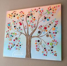 Make this beautiful button tree for your home. This button tree tutorial shows you step by step how to turn an ordinary canvas into colorful wall art! - by Amanda Formaro of Crafts by Amanda Fun Crafts, Diy And Crafts, Arts And Crafts, Paper Crafts, Cardboard Crafts, Summer Crafts, Stick Crafts, Canvas Crafts, Tree Crafts