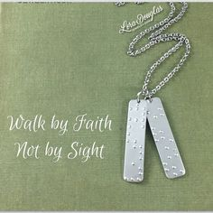 Walk by Faith • Not by Sight #braille #braillejewelry #necklace #fashion #style #silver #silverjewelry #handmade #handmadejewelry #etsy #etsyjewelry #jewelry #jewellery #walkbyfaith #walkbyfaithnotbysight #bibleverse #inspiration #encouragement #hope