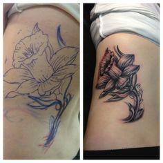 Stencil and after daffodil tattoo Time Tattoos, Tatoos, Daffodil Flower Tattoos, Butterfly Tattoos, Butterfly Sketch, Tattoo Shading, Flower Tattoo Meanings, Skin Art, Daffodils