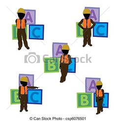 African American Teen Construction Worker Illustration Great for scrapping