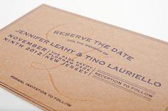 Wine Inspired Reserve the Date Postcard, Chipboard Letterpress with Navy Ink.