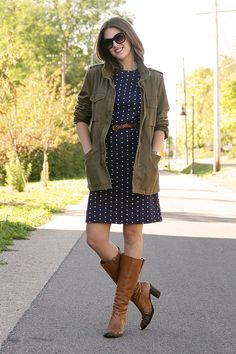 @whatiwore, What I Wore, Jessica Quirk, How to Wear an Army Jacket, How to wear Polka Dots, Polka Dots, Army Jacket, What color boots to wear with navy