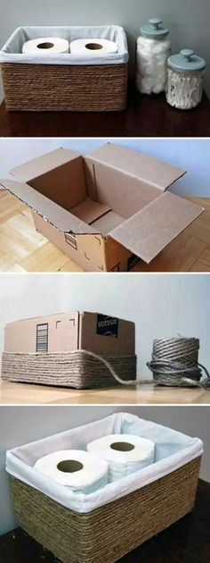 Upcycle. Cardboard box and jute rope into basket