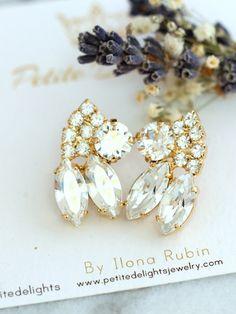 Bridal Earrings Bridal Crystal Earrings White Crystal by iloniti