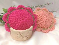 2 Scour Pad Flowers Nylon Scrubbie, Dish Pot Scrubber, Mesh Cleaning Sponge, Crochet Scrub, Kitchen, Bathroom, Laundry, colorset:Melon