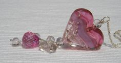 Pink Fleur Heart Necklace // RESERVED by Clover Blue -features our handmade glass lampwork heart bead!