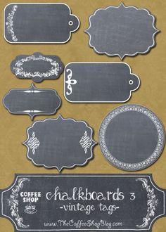 Free CoffeeShop Chalkboards 3 Set of Vintage Tags! Printable Labels, Printable Paper, Free Printables, Free Digital Scrapbooking, Digital Papers, Vintage Tags, Vintage Labels, Etiquette Vintage, Chalkboard Labels