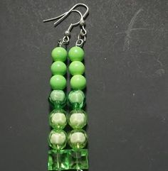 Swarovski Emerald  Beaded Dangle Earrings