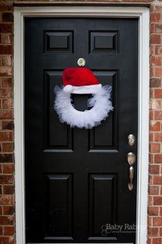 1e57ea998a041 Santa Tulle Wreath - foam wreath based on width of hat. 50 yards of white  tulle