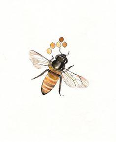 Beelieve/ Bee and Honeycomb Watercolor print/grey by kellybermudez, $19.00