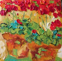 geranamius paintings | Geranium Floral Painting Original Oil Painting by IronsideImpastos