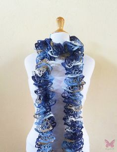 Knit Scarf FADED JEANS  Ruffled Lace scarf  by OriginalDesignsByAR, $18.95