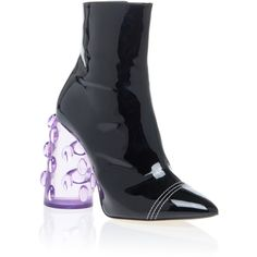 Ellery Bubble Heel Bootie ($1,775) ❤ liked on Polyvore featuring shoes, boots, ankle booties, black, black patent leather boots, short boots, black booties, patent leather ankle boots and patent booties