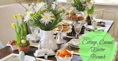 Looking for an easy, casual tablescape for Easter this year? Try setting up a casual brunch with inexpensive mums, branches, daffodils, fresh fruits, and delici…