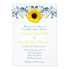 Sunflower Wedding Invitations Sunflower Navy Blue Yellow White Floral Wedding Card