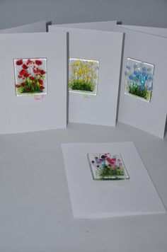 Handmade Fused Glass Art - Cards - Poppy, Daisy, Wild Flowers, Cornflowers by PamPetersDesigns on Etsy https://www.etsy.com/listing/474777265/handmade-fused-glass-art-cards-poppy