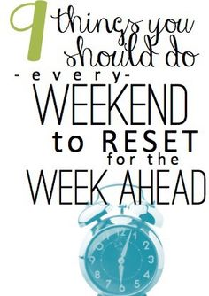 "Some great ideas to think about.Mondays don't have to be manic and miserable! There are a lot of easy little things that you can do on the weekends to ""reset"" for a fresh, smooth work week! This is a MUST READ."