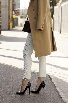 Isabel Marant for H&M laced up pants, Zara coat, Celine bag, Jimmy Choo heels #StreetStyle