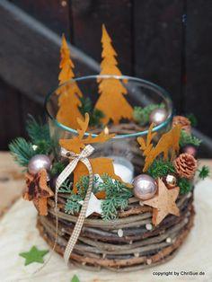 Dekoráció - Karácsonyi koszorú Lantern asztaldísz - a tervező darab ChriSue a DaWanda