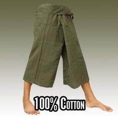 3/5 Pescador pantalones tailandeses Estilo - Verde - Algodón