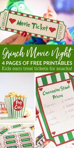 Grinch Movie Night Printables
